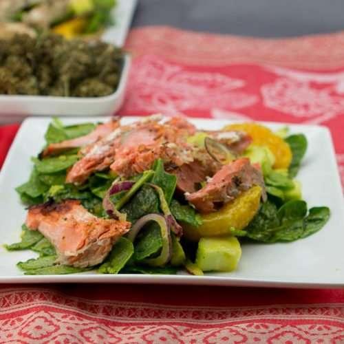 Marijuana Salad Recipes - Spinach and Salmon Salad with Orange Vinaigrette