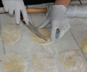 making marijuana beaver tails, scoring the dough