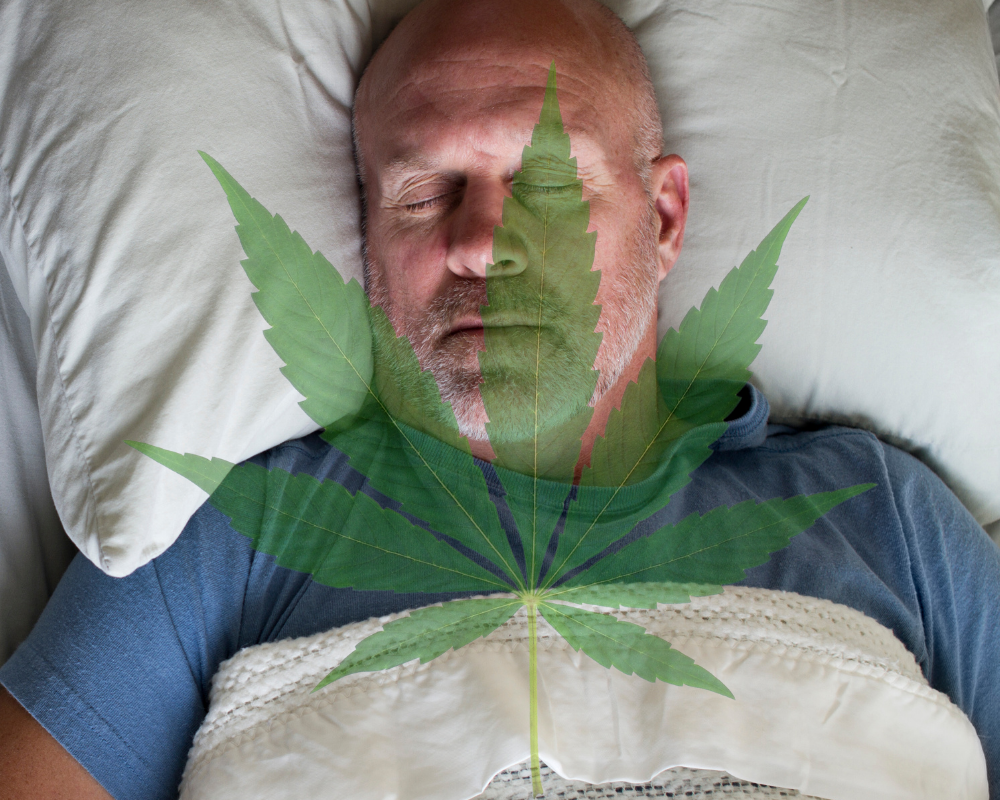sleeping man and marijuana leaf