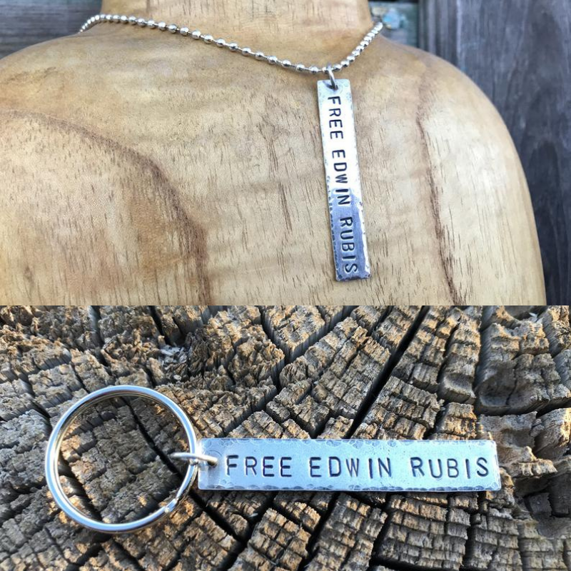 Keychain and necklace charms in nickel silver, benefitting Edwin Rubis, one of 4 marijuana prisoners