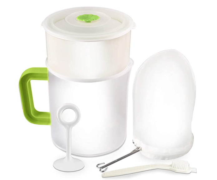 yogurt strainer ofr removing sedimnet in marijuana butter or oil