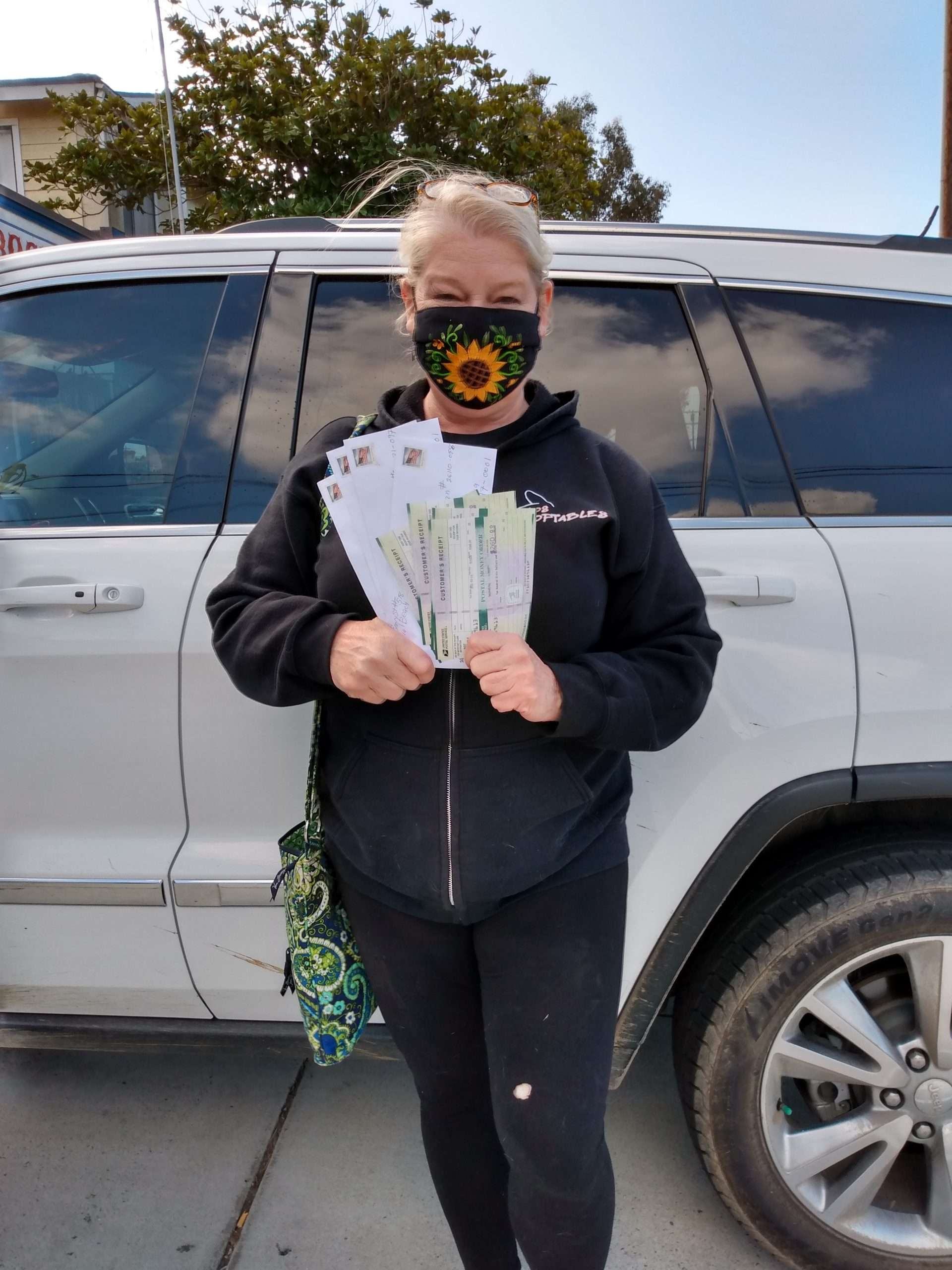 Cheri Sicard with Donations for Federal Cannabis Prisoners
