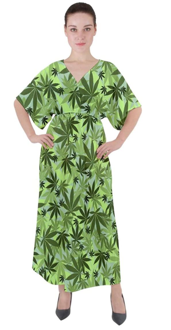Marijuana Leaf Maxi Dress