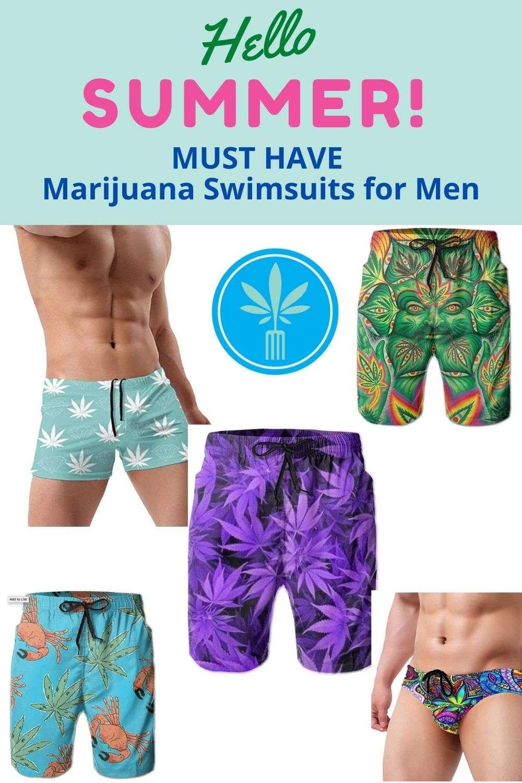 Men's Marijuana Swim Trunks and Swim Briefs