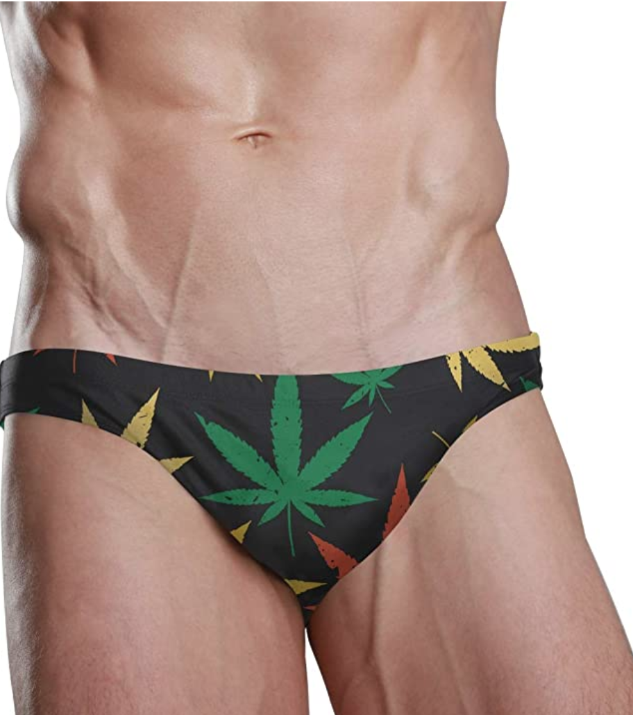 men's marijuana leaf swimsuit