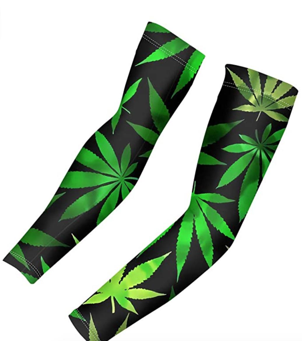 Cooling UV Protection Sleeves with Marijuana Leaf Print